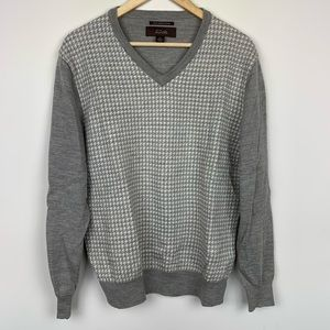 Tasso Elba Houndstooth 100% Merino Wool Sweater